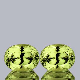 10.50x8.50 mm 2pcs {6.65 cts} Oval Brilliant Cut Best AAA Fire Top Green Gold Lemon Quartz Natural {Flawless-VVS}