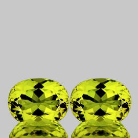 13.5x10.5 mm 2pcs {11.24 cts} Oval Brilliant Cut Best AAA Fire Green Gold Lemon Quartz Natural {Flawless-VVS}