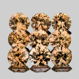3.00 mm 9 pcs Round Brilliant Machine Cut Extreme Brilliancy Natural Imperial Champagne Zircon {Flawless-VVS1}--AAA Grade