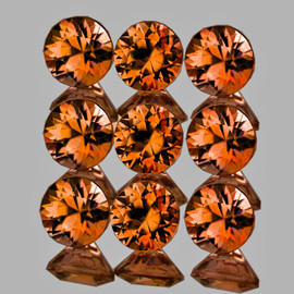 3.00 mm 9 pcs Round Brilliant Machine Cut Extreme Brilliancy Natural Imperial Orange Zircon {Flawless-VVS1}--AAA Grade