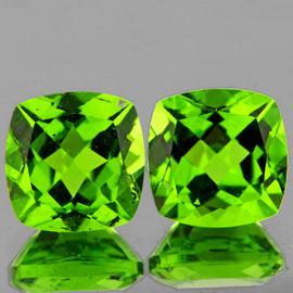 8.00 mm 2pcs Cushion AAA Fire AAA Green Peridot Natural {Flawless-VVS}