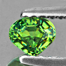 0.72 cts Heart 5.50 mm Premium Green Demantoid Natural {Flawless-VVS1}