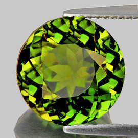 7.80 mm {1.92 cts} Round AAA Fire AAA Chrome Yellow Green Tourmaline Natural Mozambique {Flawless-VVS}--AAA Grade
