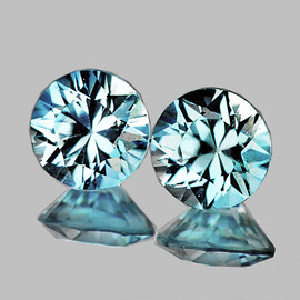 5.50 mm 2 pcs {1.77 cts} Round Diamond Cut Extreme Brilliancy Fire Natural Blue Zircon {Flawless-VVS1)