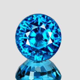 6.50 mm {1.88 cts} Round AAA Fire Intense AAA Blue Zircon Natural{Flawless-VVS1}--AAA Grade