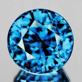 6.50 mm {1.94 cts} Round AAA Fire Intense AAA Blue Zircon Natural{Flawless-VVS1}--AAA Grade