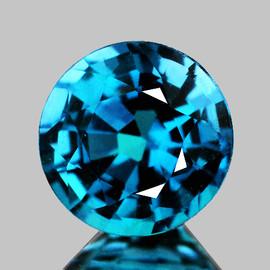 6.50 mm {2.02 cts} Round AAA Fire Intense AAA Blue Zircon Natural {Flawless-VVS1}--AAA Grade
