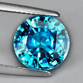 7.80 mm {2.66 cts} Round AAA Fire Top Blue Zircon Natural{Flawless-VVS1}--AAA Grade