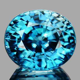 8x7mm {2.59 cts} Oval Best AAA Fire Intense Seafoam Blue Zircon Natural {Flawless-VVS1}--AAA Grade