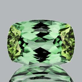 9.5x6mm {2.06 cts } Cushion AAA Fire Vivid Green Tourmaline Natural {Flawless-VVS}--AAA Grade