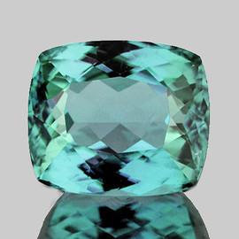 7x6 mm {1.13 cts} Cushion AAA Fire Vivid Green Blue Tourmaline Natural {Flawless-VVS}--AAA Grade