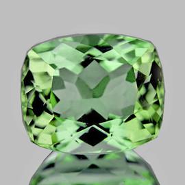 8x6mm {1.66 cts} Cushion AAA Fire Vivid Green Tourmaline Natural {VVS}