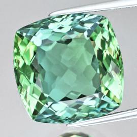 7.50 mm {1.93 cts} Cushion AAA Fire Vivid Green Tourmaline Natural {VVS}--AAA Grade