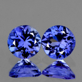 4.30 mm 2 pcs Round AAA Fire Intense Purple Blue Tanzanite Natural {Flawless-VVS1}--AAA Grade
