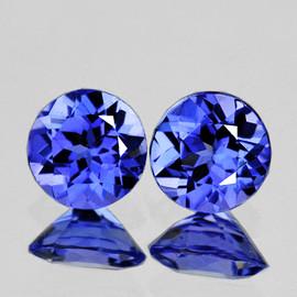 3.70 mm 2 pcs Round AAA Fire Intense Purple Blue Tanzanite Natural {Flawless-VVS1}