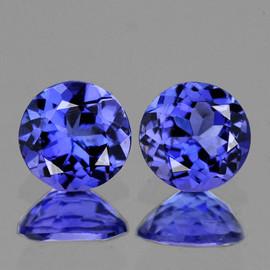 4.00 mm 2 pcs Round AAA Fire Intense Purple Blue Tanzanite Natural {Flawless-VVS1}--AAA Grade