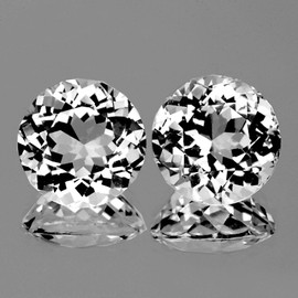 10.00 mm 2 pcs Round Brilliant Cut Best AAA White Topaz Natural {Flawless-VVS1}