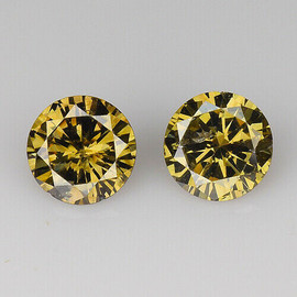 3.50 mm 2 pcs {0.39 cts} Round Brilliant Cut Golden Champagne Diamond Natural