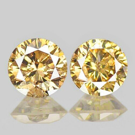 3.50 mm 2 pcs {0.38 cts} Round Brilliant Cut AAA Fire Vivid Golden Champagne Diamond Natural
