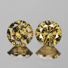 3.60 mm 2 pcs {0.37 cts} Round Brilliant Cut AAA Fire Vivid Golden Champagne Diamond Natural