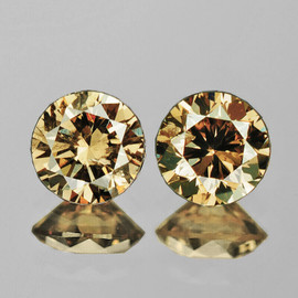 3.50 mm 2 pcs {0.42 cts} Round Brilliant Cut AAA Fire Vivid Golden Champagne Diamond Natural