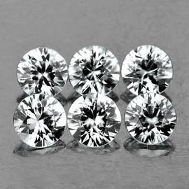 3.50 mm 6 pcs Round Brilliant Cut AAA Fire Diamond White Zircon Natural {Flawless-VVS1}