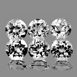 6.00 mm 6 pcs Round Brilliant Cut Best AAA White Topaz Natural {Flawless-VVS1}