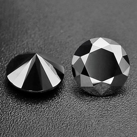 2.30 mm 2 pcs Round Diamond Cut Natural Black Diamond