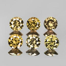 2.50 mm 6 pcs {0.37 cts} Round Brilliant Cut Mix Champagne Diamond Natural {VVS-SI}