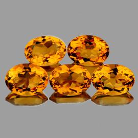 7x5 mm 5 pcs Oval AAA Fire Madeira Golden Yellow Citrine Natural (Flawless-VVS}--AAA Grade