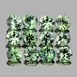 2.50 mm 12 pcs Round Diamond Cut AAA Fire Top Green Sapphire Natural {Flawless-VVS}