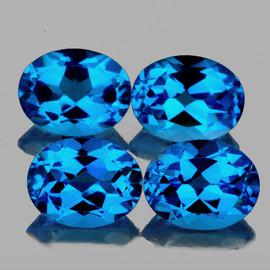 7x5 mm 4 pcs Oval Best AAA Swiss Blue Topaz Natural {Flawless-VVS1}