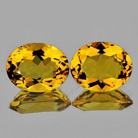 10x8 mm 2 pcs Oval AAA Fire Intense Golden Yellow Citrine Natural {Flawless-VVS1}