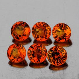 3.50 mm 6 pcs Round AAA Fire AAA Mandarin Orange Spessartite Garnet Natural  {Flawless-VVS}