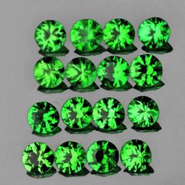 2.30 mm 20 pcs Round Diamond Cut AAA Chrome Green Tsavorite Garnet Natural {Flawless-VVS1}