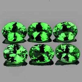 4x3 mm 6 pcs Oval AAA Fire AAA Chrome Green Tsavorite Garnet Natural {Flawless-VVS}