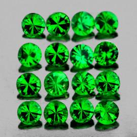 1.20 mm 100 pcs Round Diamond Cut AAA Fire AAA Emerald Green Tsavorite Garnet Natural {VVS}