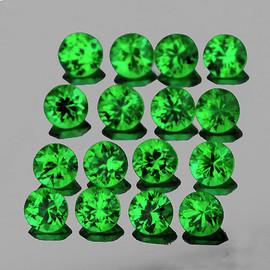 1.50 mm 50 pcs Round Diamond Cut AAA Fire AAA Emerald Green Tsavorite Garnet Natural {VVS}