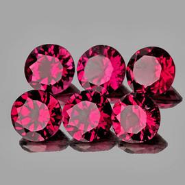 4.00 mm 6 pcs Round AAA Fire Cherry Red Pink Rhodolite Garnet Natural {Flawless-VVS)