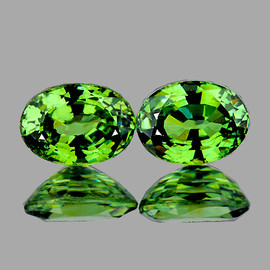 6x4.5 mm 2 pcs {1.42 cts} Oval AAA Fire Premium Green Demantoid Natural (Flawless-VVS)--AAA Grade