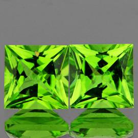 6.00 mm 2 pcs Square Princess Cut AAA Fire AAA Green Peridot Natural {Flawless-VVS}--AAA Grade