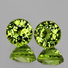 4.50 mm 2 pcs Round AAA Fire Intense Green Yellow Mali Garnet Natural {Flawless-VVS}--AAA Grade