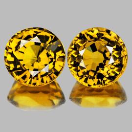 5.00 mm 2 pcs {1.60 cts} Round AAA Fire Golden Yellow Mali Garnet Natural {Flawless-VVS}