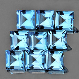 5.00 mm 9 pcs Square {7.06 cts} Best AAA Sky Blue Topaz Natural {Flawless-VVS1}