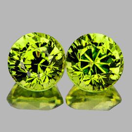 4.80 mm 2 pcs Round AAA Fire AAA Green Yellow Mali Garnet Natural {Flawless-VVS}