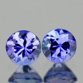 3.70 mm 2 pcs Round AAA Fire Purple Blue Tanzanite Natural {Flawless-VVS1}