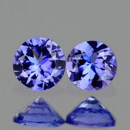 3.80 mm 2 pcs Round AAA Fire Purple Blue Tanzanite Natural {Flawless-VVS1}