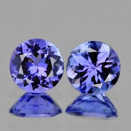 4.20 mm 2 pcs Round AAA Fire Top Purple Blue Tanzanite Natural {Flawless-VVS1}