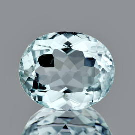 8.5x7 mm { 1.79 cts} Oval Brilliant Cut AAA Fire Natural Soft Blue Aquamarine {Flawless-VVS}