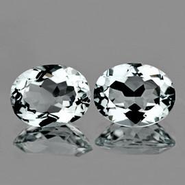 9x7 mm 2pcs { 3.85 cts} Oval Brilliant Cut AAA Fire Natural Diamond White Aquamarine {Flawless-VVS}